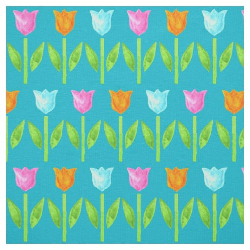 Colorful Watercolor Tulips in Pink, Blue, Orange Fabric