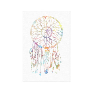 Colorful Watercolor Whimsical Dreamcatcher Canvas Print