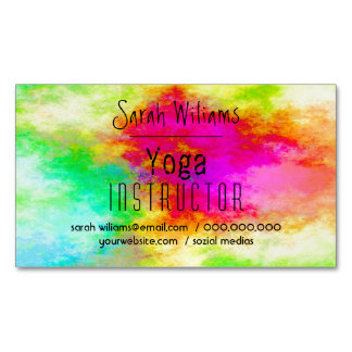 Colorful watercolor Yoga Instructor with your Name Magnetic Business Card