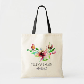 Colorful Watercolors Floral Blossom Illustration Tote Bag