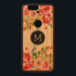 """Colorful Watercolors Floral Design Monogram GR2 Wood Nexus 6P Case<br><div class=""""desc"""">Modern colorful watercolors flowers bouquet on top and bottom with black circle and custom monogram</div>"""
