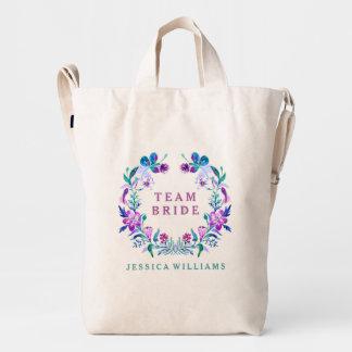 Colorful Watercolors Floral Wreath Team Bride Duck Bag