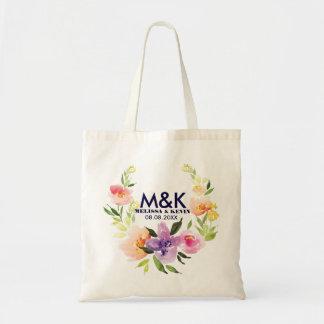 Colorful Watercolors Floral Wreath Tote Bag