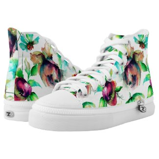 Colorful Watercolors Flowers Illustration Printed Shoes
