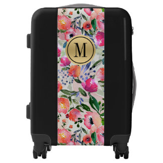 Hummingbird Birds Animal Floral Monogram Luggage