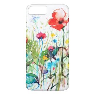 Colorful Watercolors Red Poppy's & Spring Flowers iPhone 8 Plus/7 Plus Case