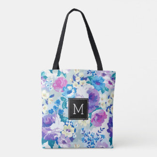 Colorful Watercolors Summer Flowers Pattern Tote Bag