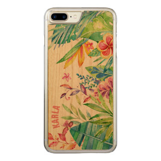 Colorful Watercolors Tropical Flowers Carved iPhone 8 Plus/7 Plus Case