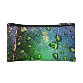Colorful Waterdrops on Leaf Cosmetic Bag