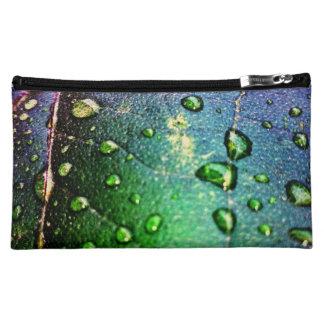 Colorful Waterdrops on Leaf Makeup Bag