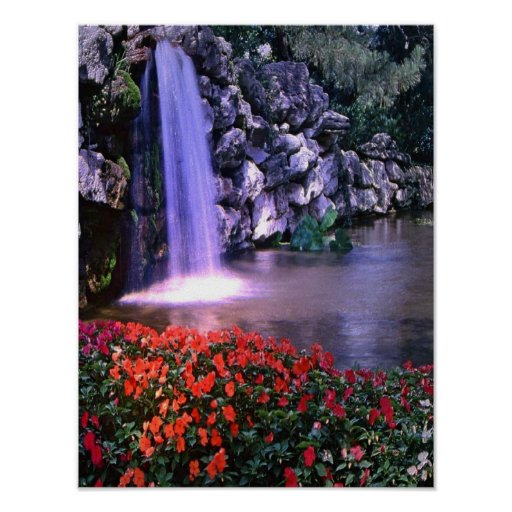 Colorful waterfass w/flowers poster