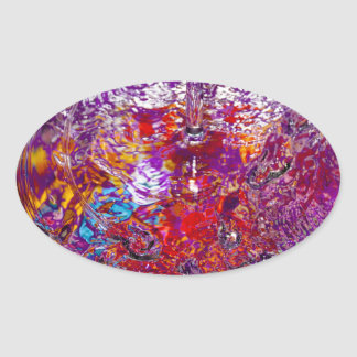 Colorful Waters Abstract Photograph Oval Sticker