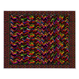 Colorful Wave Art Red Brown Textures Poster