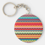 Colorful Wave Zig Zag Pattern Basic Round Button Keychain