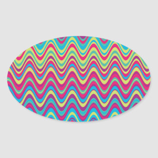 Colorful Wave Zig Zag Pattern Oval Sticker