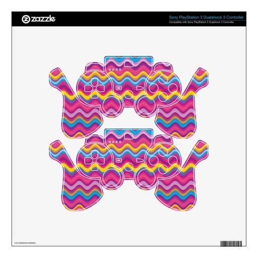 Colorful Wave Zig Zag Pattern PS3 Controller Decals