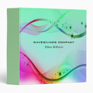 Colorful Waves Lines 3 Ring Binder