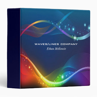 Colorful Waves LInes Binder