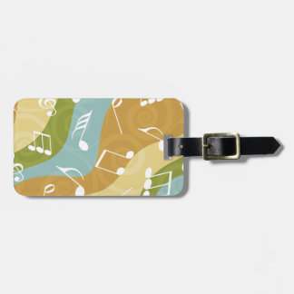 Colorful waves of Music Notes Bag Tag