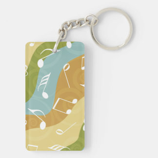 Colorful waves of Music Notes Rectangle Acrylic Key Chain