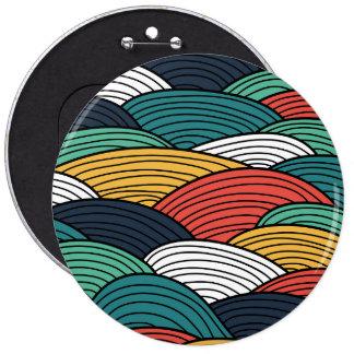Colorful waves pattern illustration pinback button