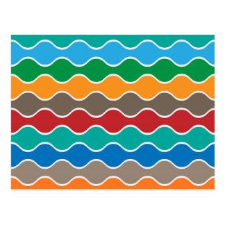 Colorful Waves Pattern Postcard