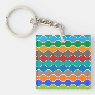 Colorful Waves Pattern Single-Sided Square Acrylic Keychain