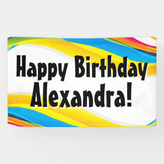 Colorful Waves Personalized Birthday Party Banner