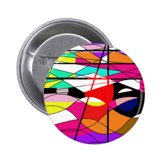 Colorful waves pinback button