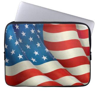 Colorful Waving U.S. Flag Computer Sleeve