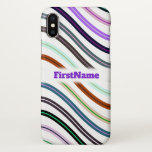 [ Thumbnail: Colorful Wavy Lines Pattern; Custom Name Case ]