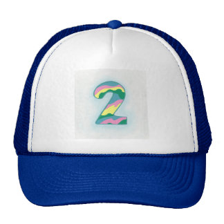 Colorful Wavy Number Two Hat by CherylsArt