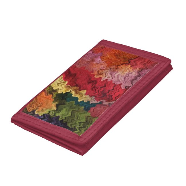 Colorful Wavy Rainbow Fabric Abstract Wallet