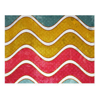 Colorful Weathered Waves Pattern Postcard
