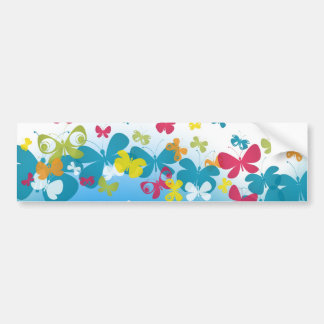 Colorful weave of butterflies bumper sticker