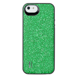 Colorful Wedding Anniversary Green Glitter iPhone SE/5/5s Battery Case