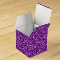 Colorful Wedding Anniversary Purple Glitter Favor Box