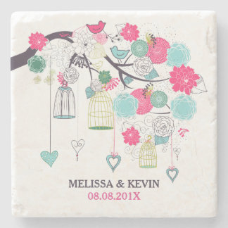 Colorful Wedding Flowers Birds & Cages Stone Coaster