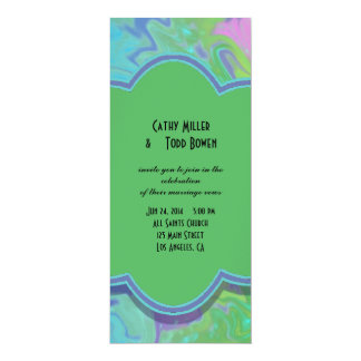 Colorful Wedding green blue splash abstract 4x9.25 Paper Invitation Card