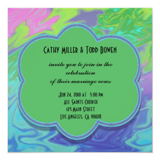 Colorful Wedding green blue splash abstract 5.25x5.25 Square Paper Invitation Card