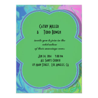 Colorful Wedding green blue splash abstract 6.5x8.75 Paper Invitation Card