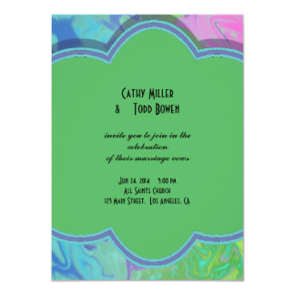 Colorful Wedding green blue splash abstract 4.5x6.25 Paper Invitation Card
