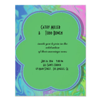 Colorful Wedding green blue splash abstract 4.25x5.5 Paper Invitation Card