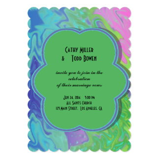 Colorful Wedding green blue splash abstract 5x7 Paper Invitation Card