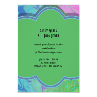 Colorful Wedding green blue splash abstract 3.5x5 Paper Invitation Card