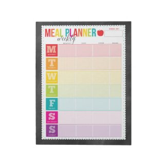 Colorful Weekly Meal Planner Large Notepad