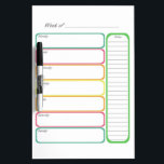 """Colorful Weekly Planner Dry Erase Board<br><div class=""""desc"""">Colorful Weekly Planner dry erase board. Keep track of appointments,  meals,  chores,  etc... </div>"""