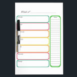 "Colorful Weekly Planner Dry Erase Board<br><div class=""desc"">Colorful Weekly Planner dry erase board. Keep track of appointments,  meals,  chores,  etc... </div>"