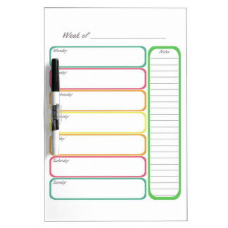 Colorful Weekly Planner Dry Erase Whiteboards