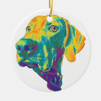Colorful weimaraner ornament